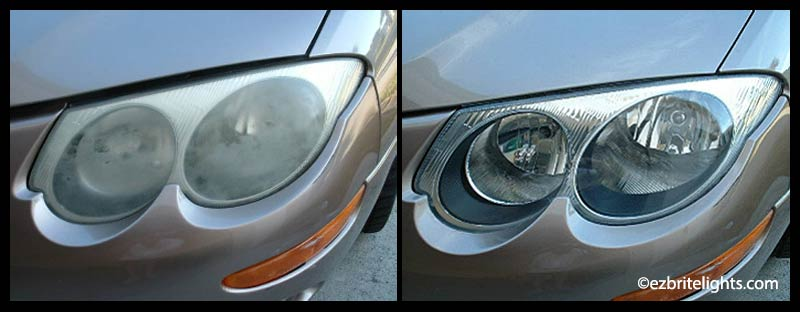 Dull headlights before EZ Bright Lights polish and seal, versus same headlights after treatment.